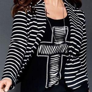 LANE BRYANT Blazer Stretch Striped Size 18 Plus